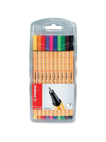 Stabilo Fineliners Point 88 s/10 Assorted Colours