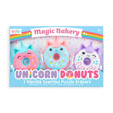 Magic Bakery Unicorn Donuts Erasers s/3