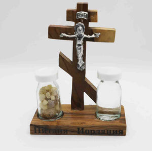 Three Bar Orthodox Cross on Stand with Jesus Christ, holy water and holy incense | Holy Valley