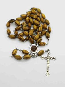 Chaplet/Bracelet Holy Rosary - Olive Wood with Holy Land Soil and a Cross | Holy Valley