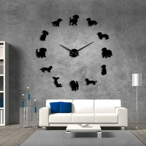 DIY Wall Art Clock Wiener-Dog Puppy