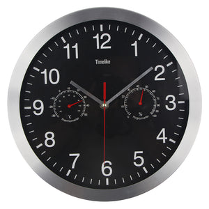 Classic Metal Wall Clock With Temperature And Humidity