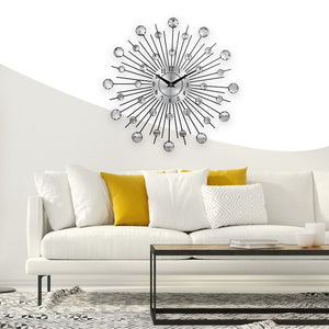 Modern Crystal Silver Wrought Iron Wall Clock