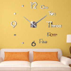 3D DIY Large Modern Design Wall Clock - Living Room Home Decor