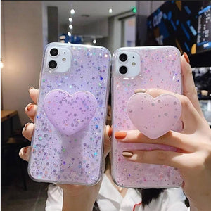 Fancyland™ Sparkling Stars Phone Case with Love Heart Shape Kickstand