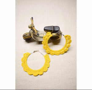 Yellow Flower Crochet Earrings