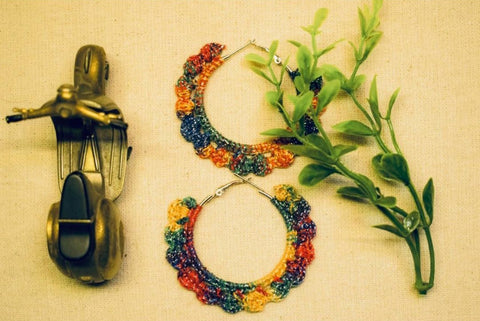 Rainbow Flower Crochet Earrings