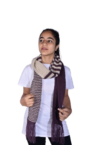 Purple Solids and Stripes Meshes Scarf