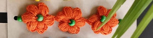 Handmade Rakhi Crochet (Orange Flowers)