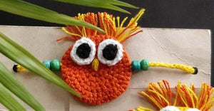 Handmade Crochet Rakhi (Owl/ Orange)