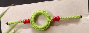 Handmade Crochet Rakhi (Green Ring)