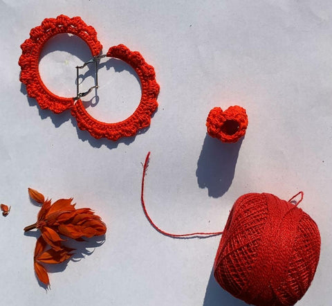Red Flower Crochet Earrings