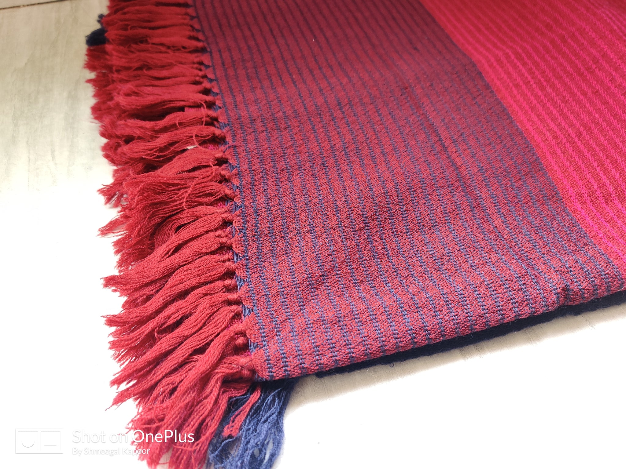 Criss cross red striped Woolen shawl