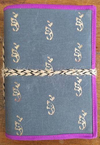 "Block printed Cloth Cover Diary with thread tie (5.5""x8"")"