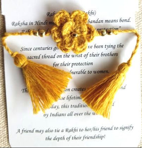 Handmade Crochet Rakhi (Yellow Single Flower)