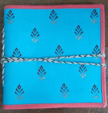 "Block printed Cloth Cover Diary (6""x6"")"