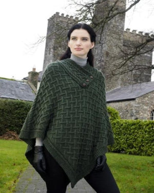Super Soft Aran Poncho Green