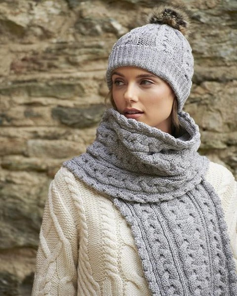 Aran Chunky Cable Knit Scarf Soft Grey