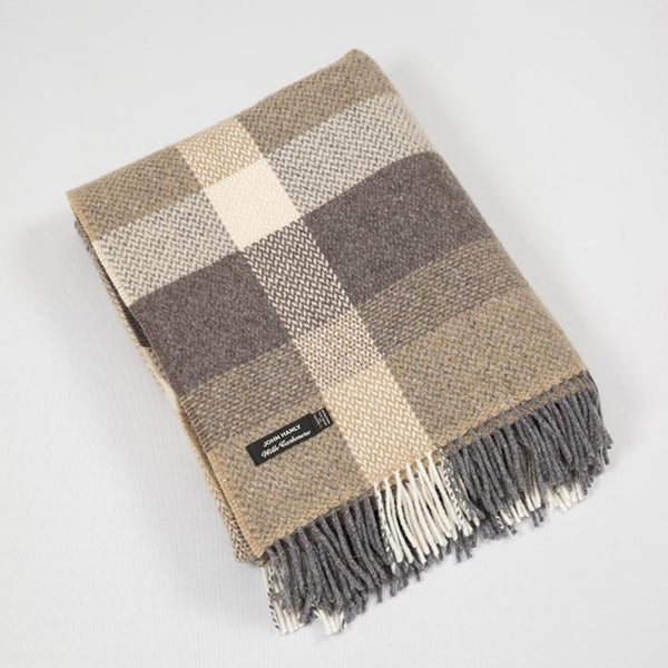 John Hanly Wool Cashmere Throw Brown Checl