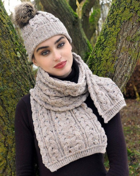 Aran Chunky Cable Knit Scarf Oatmeal