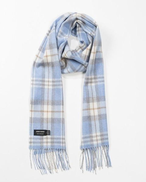 Hanly Merino Wool Scarf Baby Blue, Cream and Pale Grey Tartan