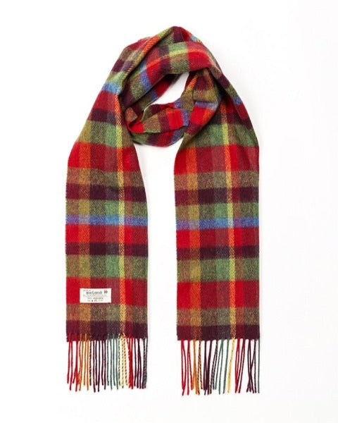 Hanly Lambswool Red, Orange, Green & Blue Check