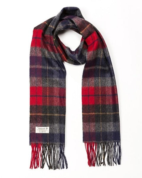 Hanly Lambswool red, dark green and navy tartan