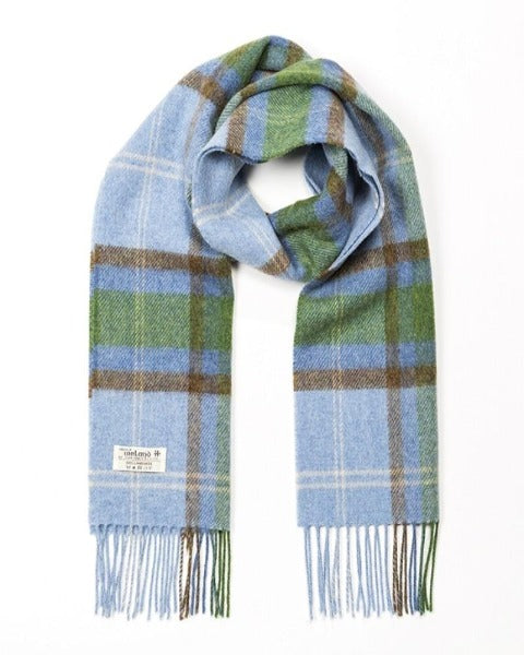 Hanly Lambswool Scarf Blue Check