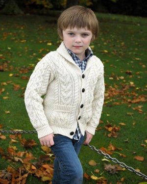 Aran Kids Shawl Collar Cardigan natural