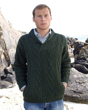 Aran Shawl Collar Army Green