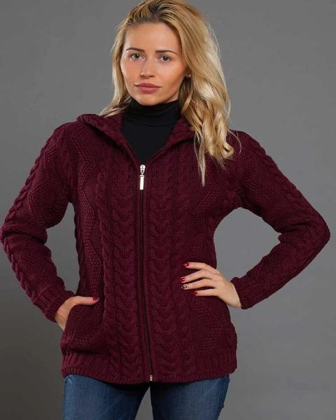 Aran Hooded Diamond Cable Zipper wine red new 2019