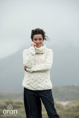 Aran Rolled Neck Supersoft Sweater