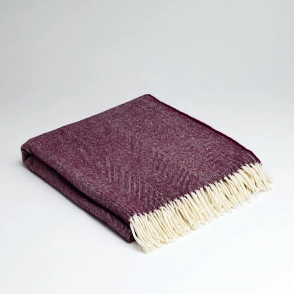 McNutt Supersoft Throw Burgundy Herringbone