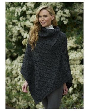 Aran Ladies Cowl Neck Poncho Charcoal