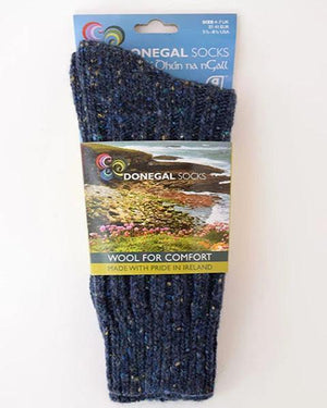 Donegal socks navy fleck