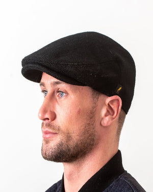 Hatman Black Flat Cap