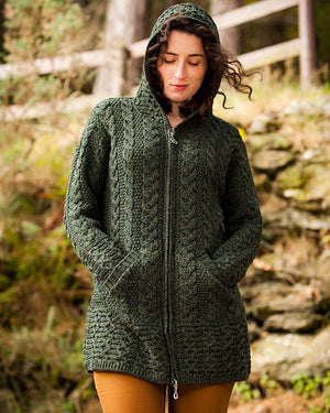 aran zipper hooded coat green