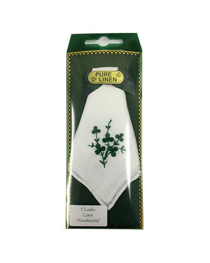 Ladies linen handkerchief shamrock