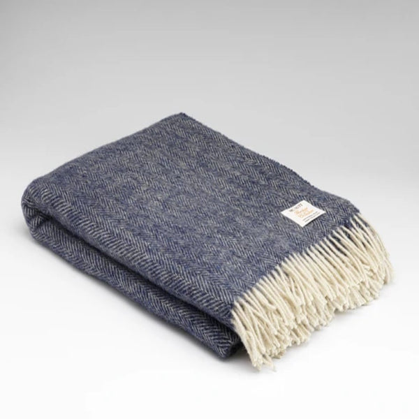 Mc Nutt Pure New Wool Throw Midnight Herringbone