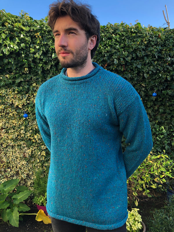 Donegal Hand loomed Roll Neck Aran Turq