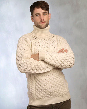 Aran Sweater Polo Neck natural