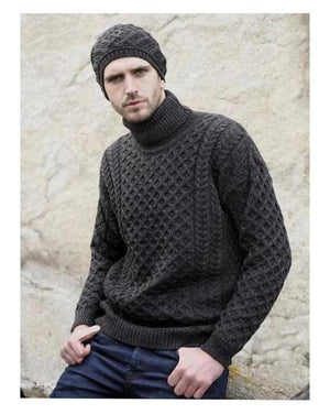 Aran Sweater Polo Neck Charcoal
