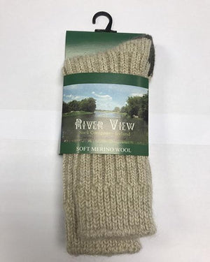 Riverview Soft Merino Wool Socks oatmeal/green