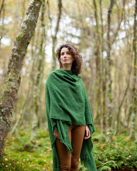 Ruana Lambswool Cape made by Kerry Woolen Mills in Emerald Green