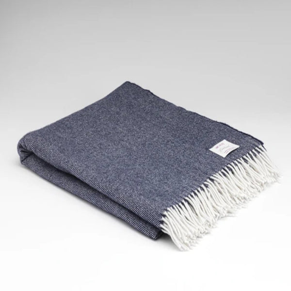 McNutt supersoft wool throw navy heringbone