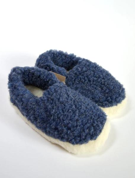 Merino Wool Slippers Blue