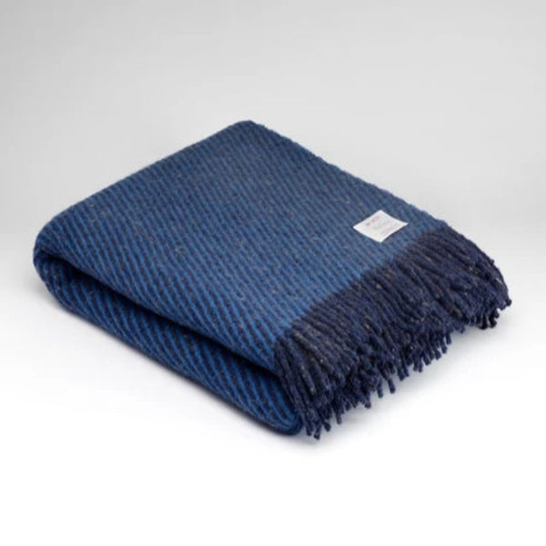 Mc Nutt Pure New Wool Throw Navy
