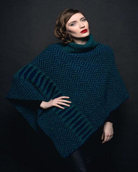 Kicarra Navy Cape made by Áine Knitwear 100% Lambswool