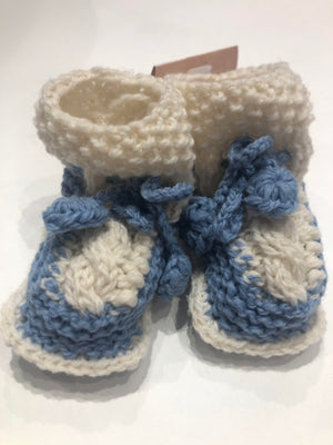 Aran Hand-knit baby booties