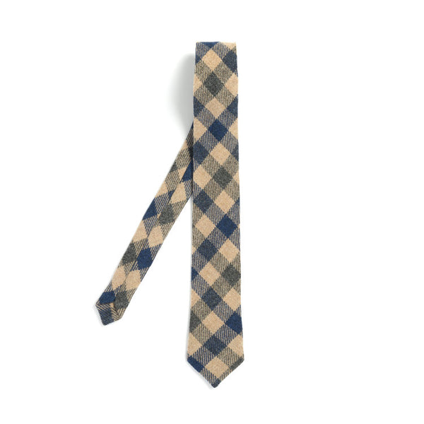 Orwell and Browne Tie Checkered Marine